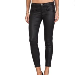 Current Elliott Coated Skinny Jeans with Zippers